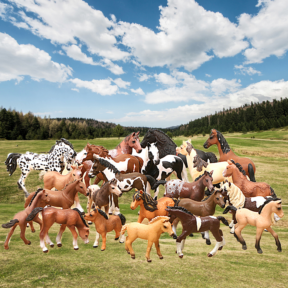 Farm Animals Horse Models Appaloosa Harvard Hannover Clydesdale Quarter Arabian Horse Action Figures One Piece Education Kid Toy
