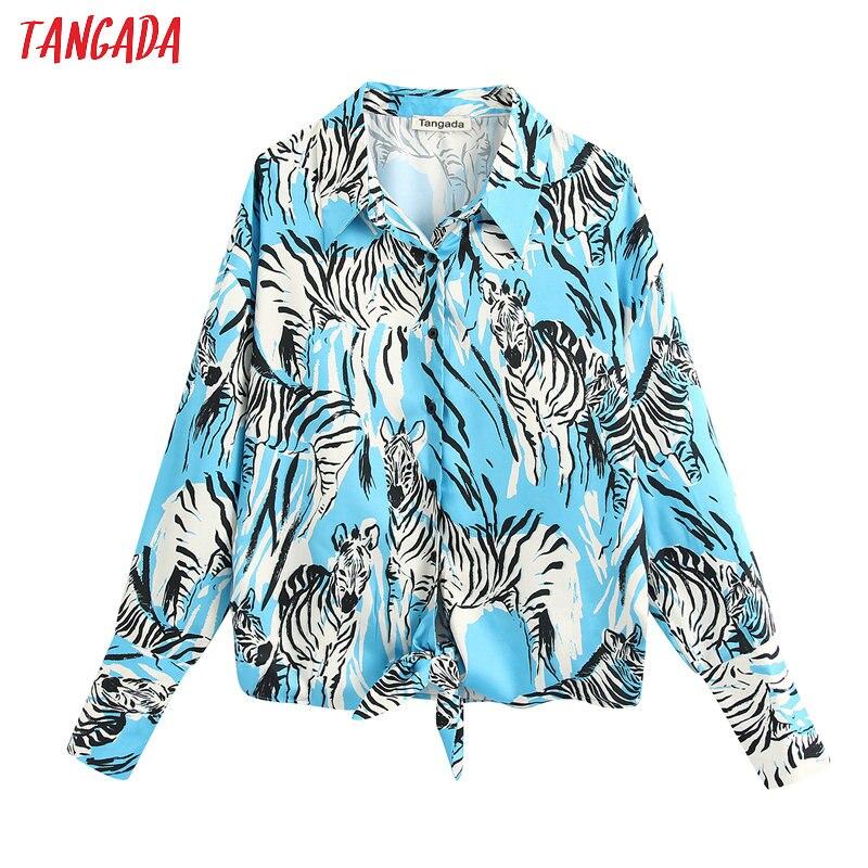 Tangada Women Retro Animal Print Shirt Turn Down Collar 2020 Female Casual Tops BE410