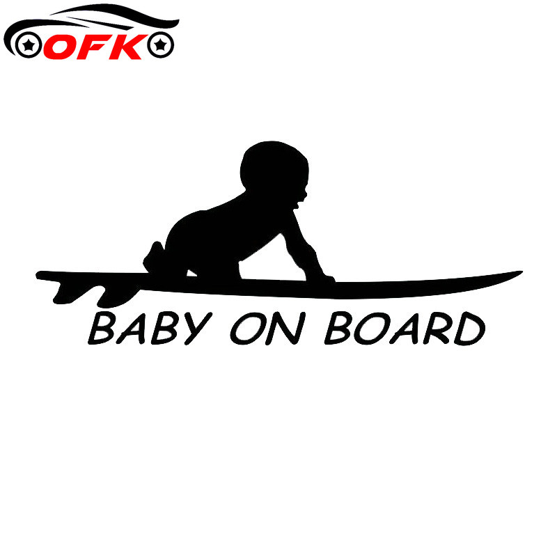 Car Stickers Decor Motorcycle Decals Baby on Board Surf Surfing Surfboard Decorative Accessories Creative  PVC,15cm*6cm