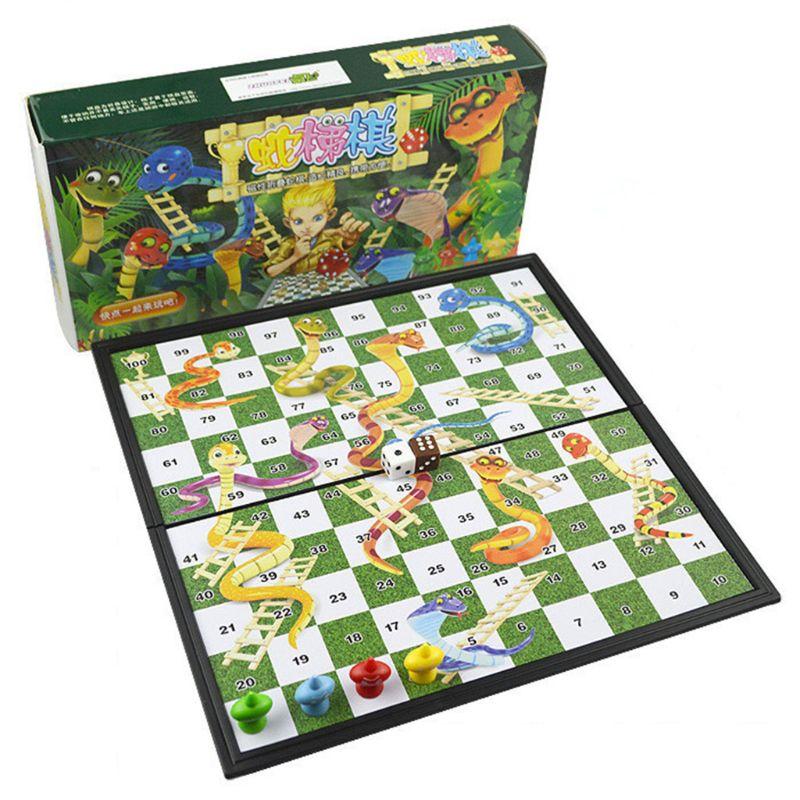 Jogo de Tabuleiro de Festa da Família Educacional de Xadrez de Cobra e Escada Brinquedo Dobrável Magnética