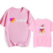 Likee T Shirt Women Pink Tees T shirt Oversize Children's LIKEE Tees Russia Style Kids Streetwear Short Sleeve T Shirts girls(China)