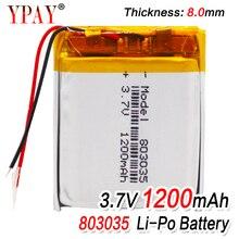 1/2/4pcs high capacity 3.7V 802535 1200mAh Li-ion Polymer Lithium Battery 3.7 Volt Lithium Ion Li-po Li-polymer Batteries Cells 1 2 4pcs 503035 3 7v 500mah lithium polymer battery 3 7v volt li po ion lipo rechargeable batteries for dvd gps navigation