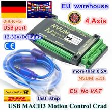 EU 4 Axis NVUM CNC Controller 200KHZ MACH3 USB Motion Control Card for CNC Engraving Stepper Motor Servo motor from RATTM MOTOR cnc engraving machine mach3 usb to parallel lpt port converter adapter controller