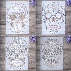 A4 Skull Stencils for Painting on Wood,Fabric,Paper,Airbrush,Walls Art Scrapbooking Stamping Album Embossing Paper Cards(China)