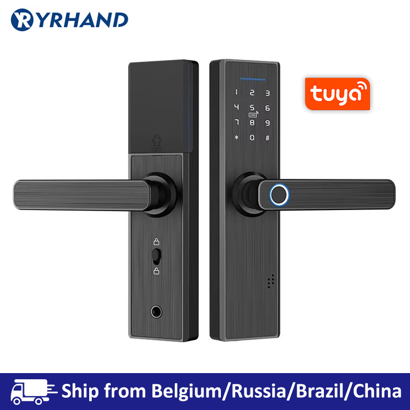 Tuya Smart Door Fingerprint Lock,Security Home Keyless Lock, Wifi Password RFID Card Lock Wireless App Phone Remote Control