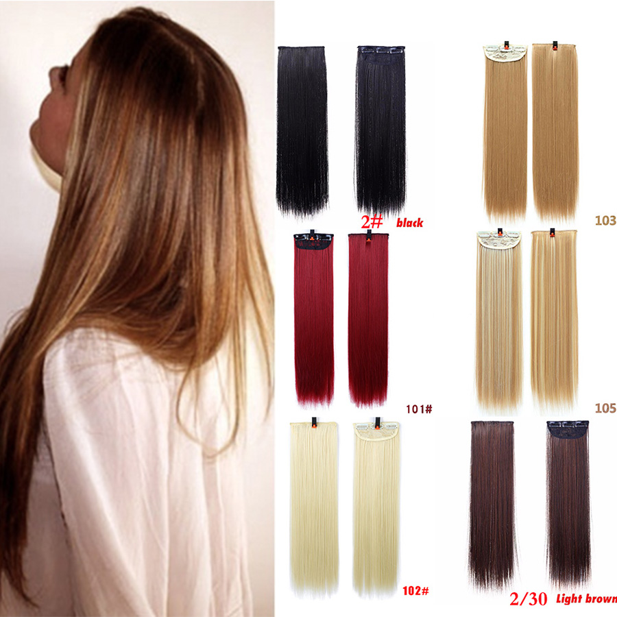 MUMUPI Fashion Straight Long Hair Women Lady 3 Clip In Hair Extensions 2 Pieces Real Natural Hair Extentions Local Headwear
