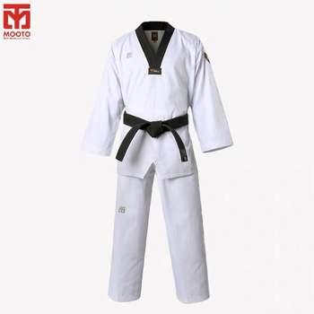 MOOTO IIIF alta calidad uniforme niño WTF para adultos Taekwondo Karate Dobok de algodón transpirable Fitness ropa de deporte traje negro con cuello en V