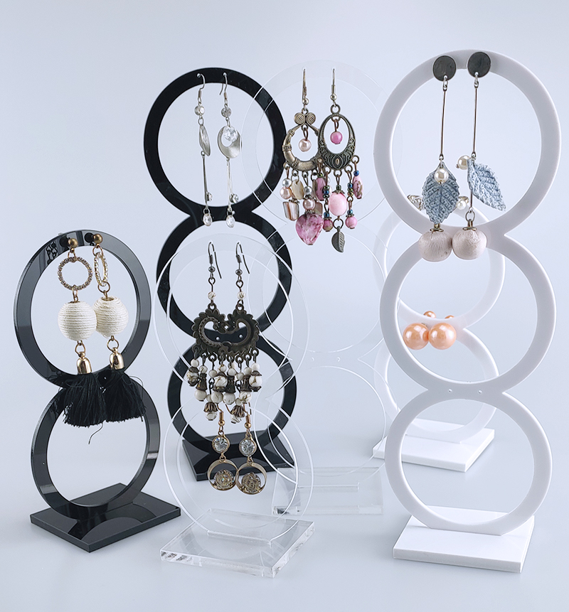 Acrylic Round Earring Holder  Jewelry Display Earring Organizer Case Earring Store Showing High Quality
