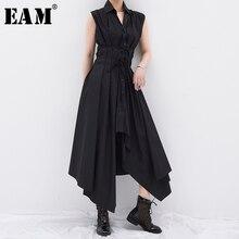[EAM] Women Black Irregular Split Long Shirt Dress New Lapel