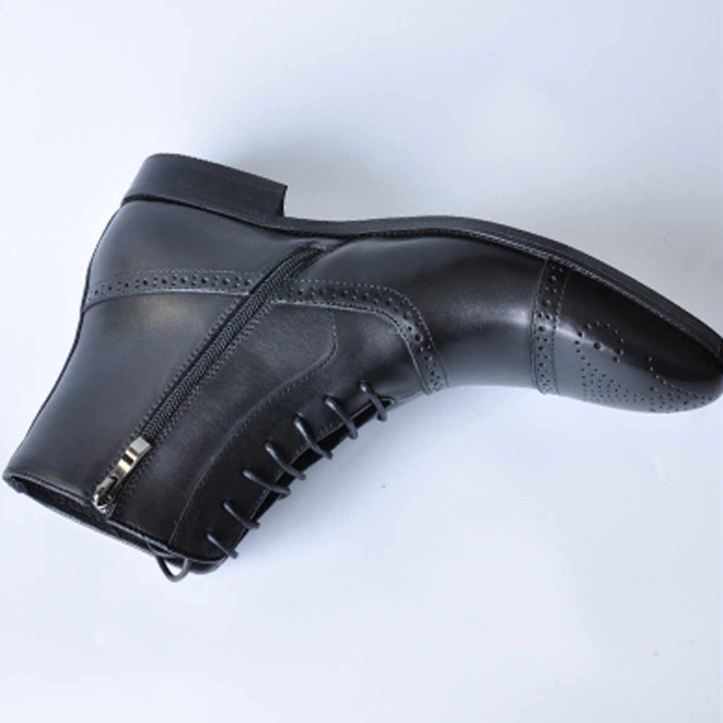 SAGACE haut de gamme mode hommes pointus haut-haut sangles côté fermeture éclair bottines en cuir brillant bottes Martin bottes dans les bottes