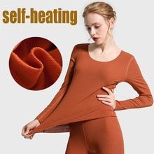 2019 الشتاء جديد سام شحن قطع سلس التدفئة ملابس اخلية حرارية مجموعات النساء T قميص + السراويل 2 قطعة طويلة جونز الدافئة الدعاوى