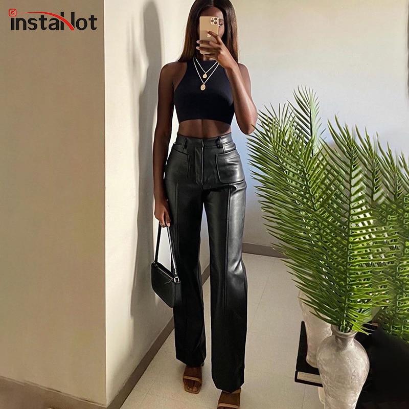 Instahot mulheres do falso calças de couro bolsos calça reta outono elegante cintura alta escritório senhora magro lazer do vintage