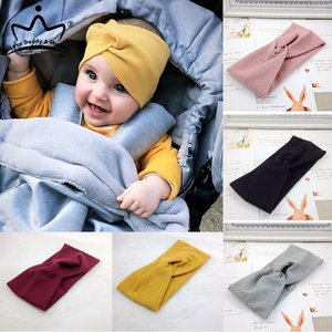 Solid Color Baby Headband Autumn Winter Girls Kids Twist Knot Hair Band Knit Cotton Elastic Baby Girl Headbands Hair Accessories