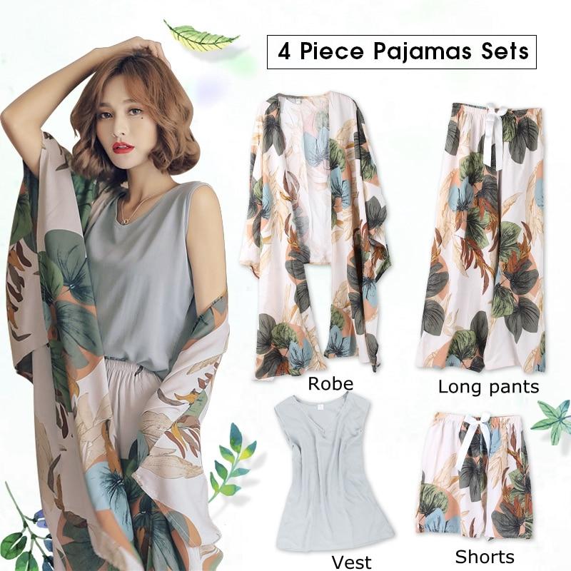JULY'S SONG 4 pièces printemps été femmes pyjamas ensembles florale imprimé Viscose Robe hauts et Shorts vêtements de nuit féminins costume de nuit