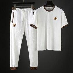 JSBDSummer sottile fresco e traspirante tessuto a maglia high-end uomini di stile a maniche corte T-Shirt vestito di sport casuali uomini