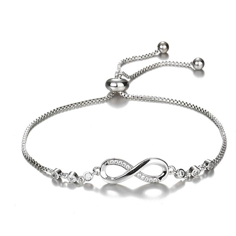 Infinity charme pulseiras mulheres dama de honra jóias de aço inoxidável corrente para sempre amizade pulseira feminino namoradas