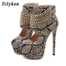 Eilyken Metal Zipper Hollow Out Sexy Snake grain Pumps Female High Heels Womens Platform Night Club Stage Dress Shoes Spring(China)
