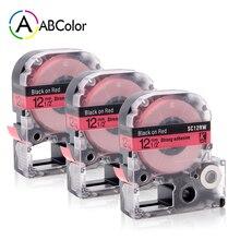 3PK Black on Red SC12RW Label Tape LC-4RBP Tape Cartridge 12mm For Epson KingJim Label Maker LW-300 LW-400 LW-500 LW-600P LW-700 цена 2017