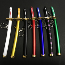 Unisex Anime Mini Naruto Metal Alloy Jewelry Zoro Game Model Saber Samurai Sword Gifts Toys For Children Keychain Key Ring cheap Plastic 3 years old 15cm Sword Weapon Category DO NOT USE BY UNDER 3YRS OLD