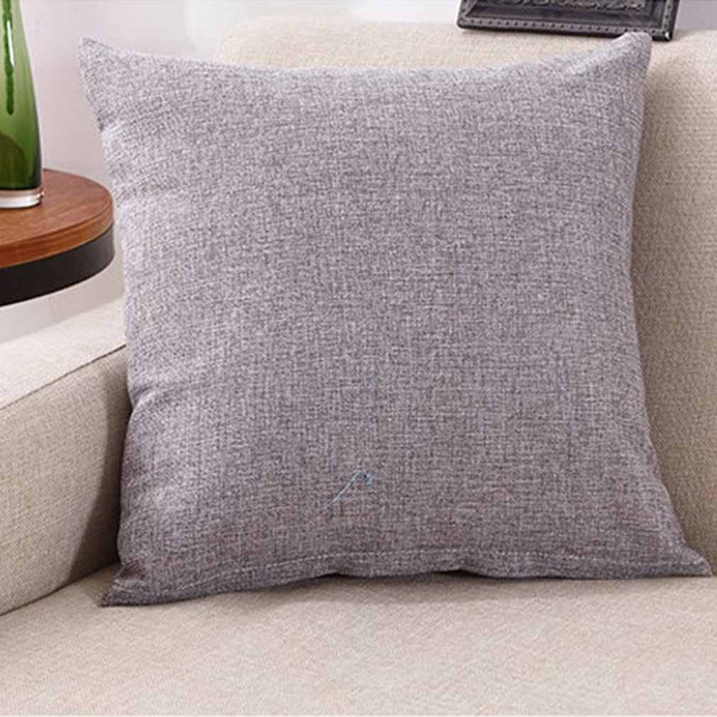 40x40cm Solid Sofa Car Pillow Cushion Soft Linening Waist Pillow Anti-Slip Bedroom Sofa Cushion for Home Office Car Use