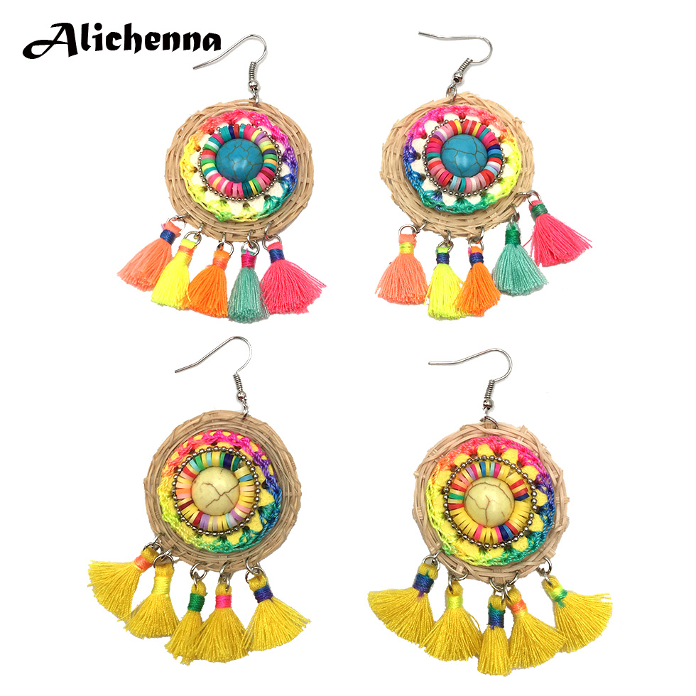 Rattan Knit Earring Statement Colour Tassel Natural Stone Material  Aretes De Mujer Modernos 2019 Holiday Gift To Friends