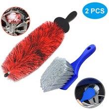"2PCS Car Wheel Cleaning Brush 18"" Long Soft Bristle Easy Reach Tire Rim Detail Brush Multipurpose For Engine Exhaust Tip Grill"