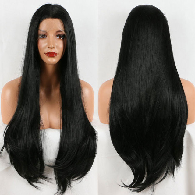 Bombshell Synthetic Hair Lace Front Wig Black Straight Cosplay Party Wig Heat Resistant Fiber Hair Free Parting For Women Wigs