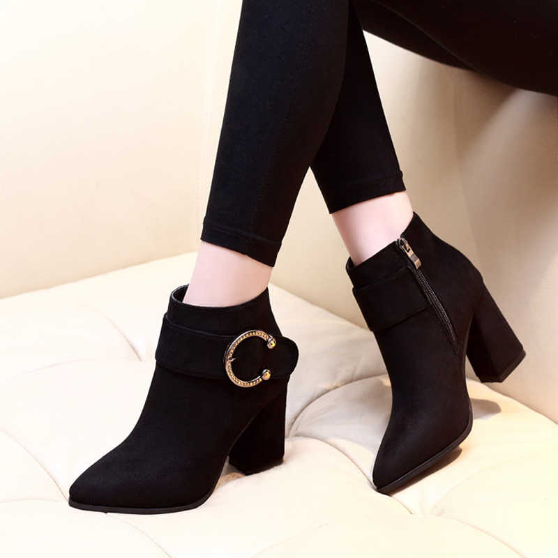 New top quality flock leather boots women high heels platform ankle boots for women pointed toe autumn winter shoes C391