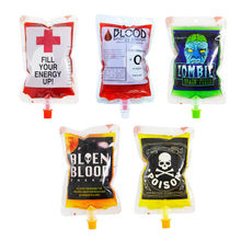 200pcs Blood Energy Drink Bags Transparent Vampire Pouch Clear Medical PVC Blood Bags Reusable Halloween Props(China)