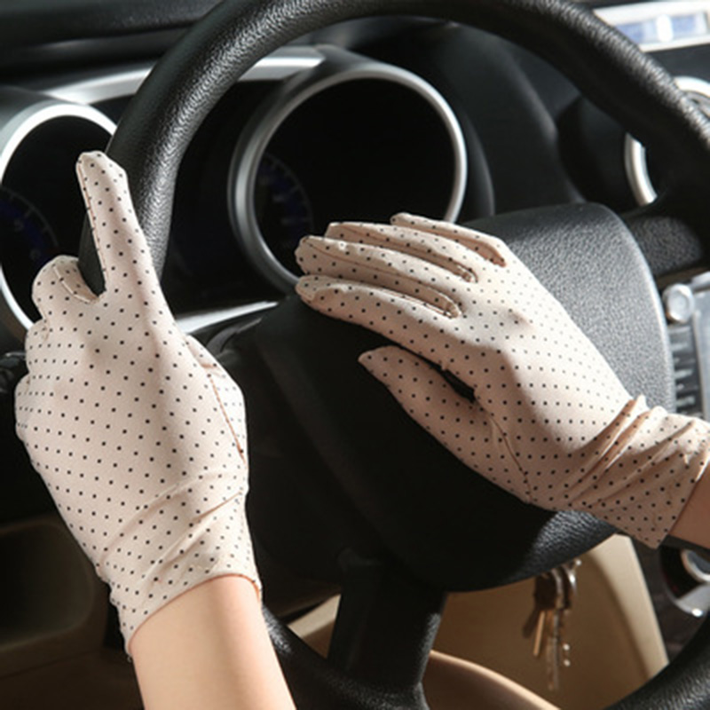 1Pair Women Dots Sunscreen Gloves Summer Spring Spandex Gloves Anti-UV Short Driving Glove Elastic Thin Etiquette Glove