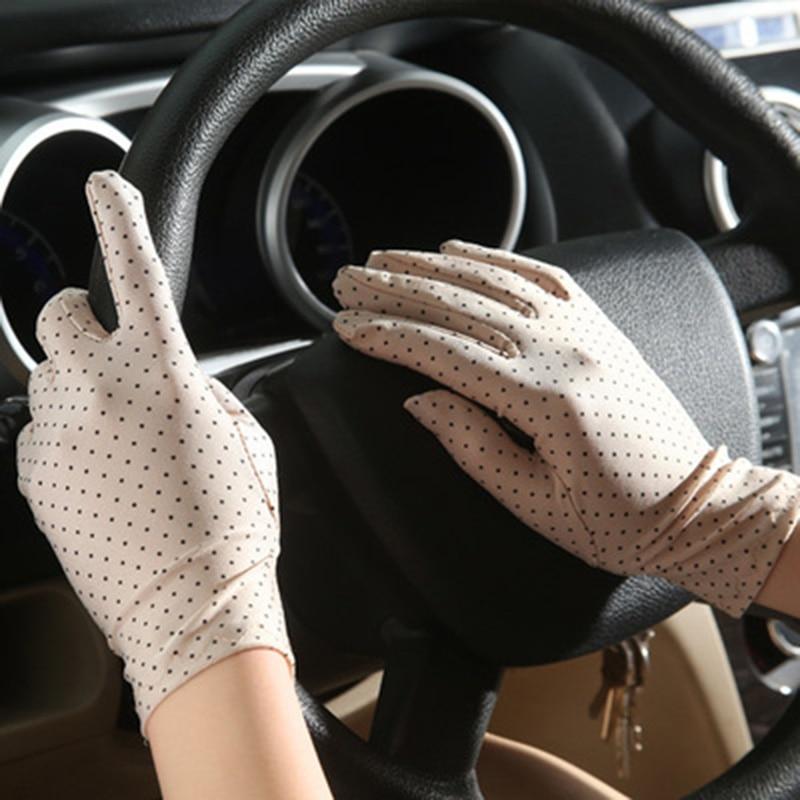 1Pair Women Dots Sunscreen Gloves Summer Spring Spandex Gloves Anti-UV Short Driving Glove Elastic Thin Etiquette Glove