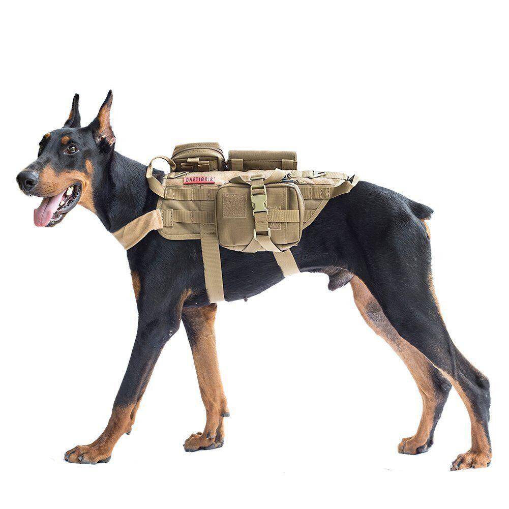 Tactical Service Dog Vest Breathable Adjustable Molle Detachable Dog Harness Metal Buckle Dog Backpack Pet Vest Harnesses