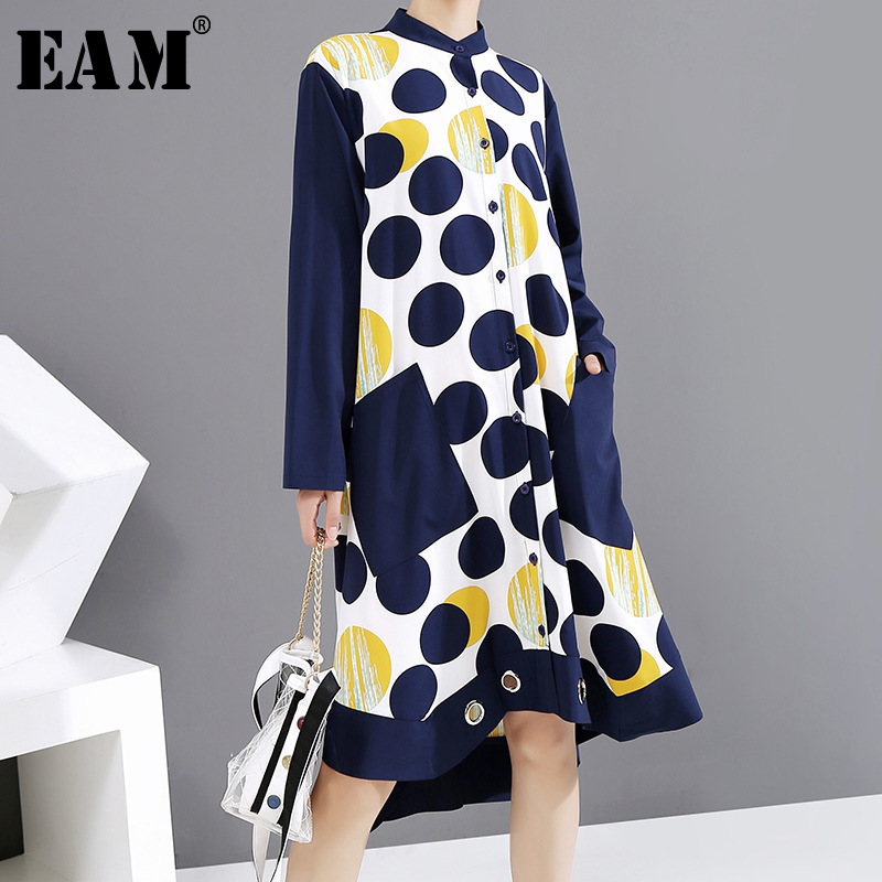 [EAM] Women Blue Pattern Printed Big Size Dress New Stand Collar Long Sleeve Loose Fit Fashion Tide Spring Autumn 2020 1Y929