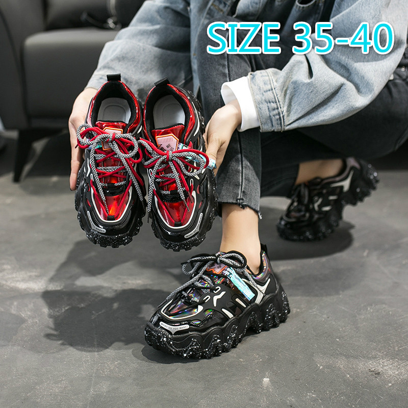 Lace-up Sneakers Women Casual Ladies Graffiti Dad Shoes Round Toe PU Rubber Platform Shoes Women Vulcanized Shoes Woman Spring