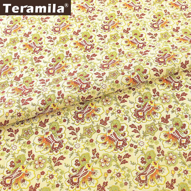 Teramila 100% Baumwolle Gedruckt Blumen Popeline Telas Tissus Au Meter DIY Puppe Kleid Rock Kleidung Patchwork Textil Stoffen