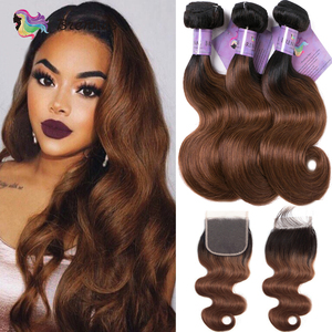 Image 1 - Brennas Body Wave Human Hair Bundles With Closure Ombre 1b30 hair weave with 4*4 lace closure Brazilian Remy Hair for women