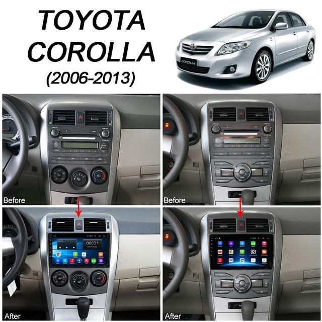 LEHX 2Din android 9.0 radioodtwarzacz samochodowy Multimedia para Toyota Corolla E140/150/2006-2013, 2 din