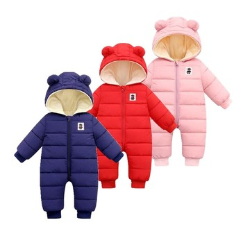 Toddler Coveralls Romper Cotton Newborn Baby Winter Romper Long Sleeve Zipper Cartoon Ear Hooded Infant Jumpsuit Down Snowsuit modern chinese style wood wall lamp wooden acrylic tree shape living room led bedroom bedside wall sconces