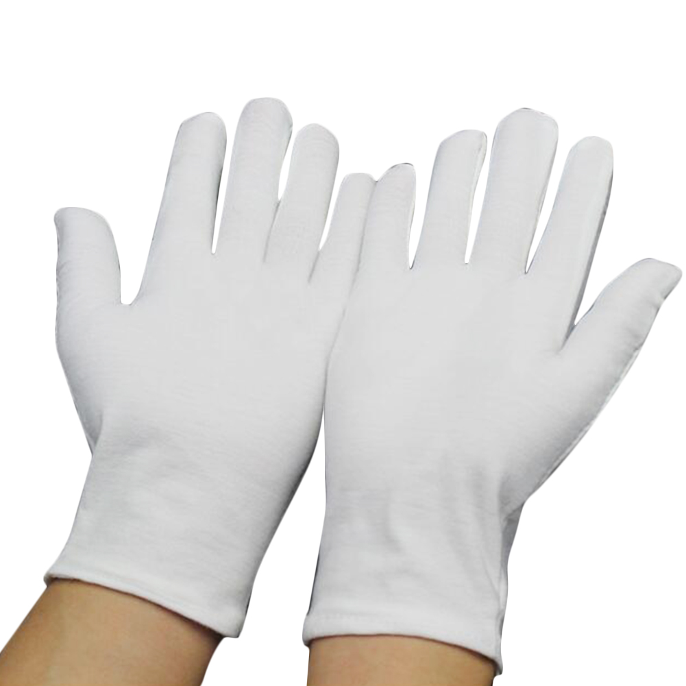 1 Pairs New Full Finger Men Women Etiquette White Cotton Gloves Waiters/Drivers/Jewelry/Workers Mittens Sweat Absorption Gloves