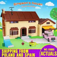 Film jouets 16005 Simpsons maison 2575 pièces bloc de construction brique Compatible avec Legoing 71006 modèle jouets pour enfants cadeau d'anniversaire
