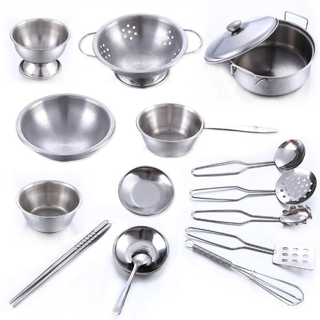 16pcs/Set Stainless Steel Kids House Kitchen Toys Cooking Cookware Pots Pan Children Pretend Play Kitchen Playset