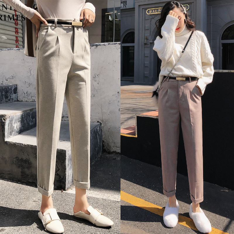 Woolen Harem Pants Women 2019 Autumn Winter High Waist Formal OL Female Trousers Ankle-length Casual Woman Warm Pencil Pants