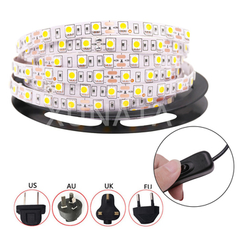 DC 12V Led Strip Light 5050 SMD 60LED/m with Switch Control Power Adapter Waterproof LED Tape Blue/Green/Warm White/Dark Red