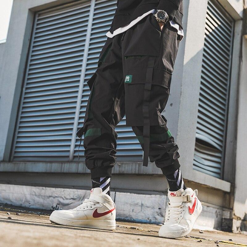 Black Letter Embroidery Streetwear Gothic Cargo Ribbons Joggers Pencil Pants Men's Hip Hop Sweatpants Men Harem Casual Trousers