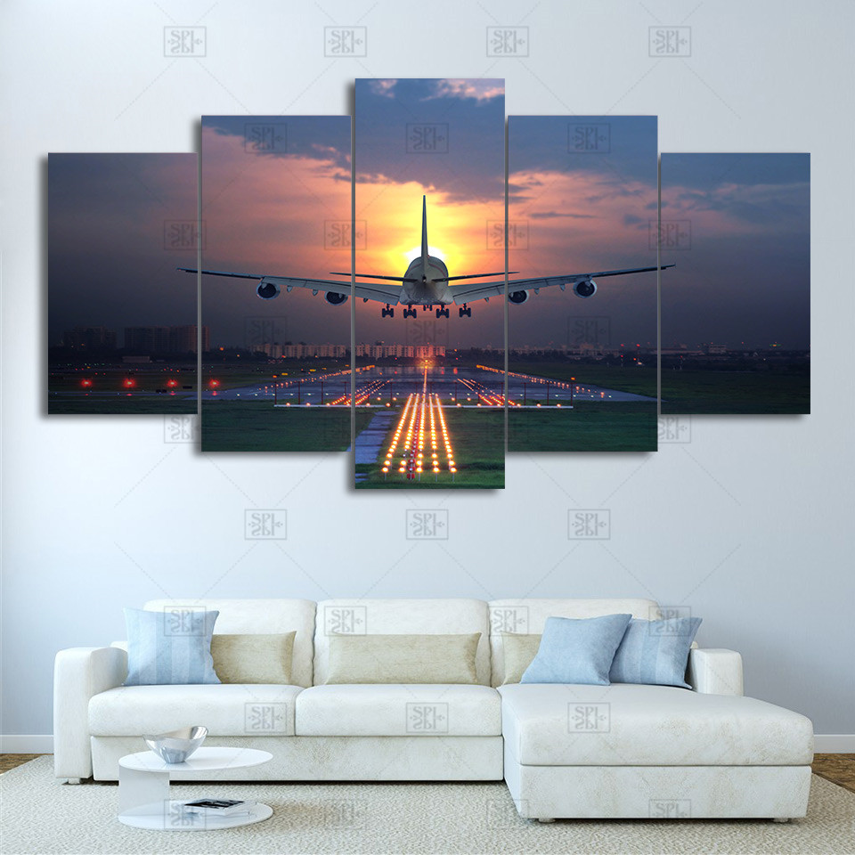 Malerei Wohnzimmer Wand Kunst 5 Panel Sunset Lichter Flugzeug Rasen Poster Leinwand Rahmen Modulare Druck Dekoration Bild