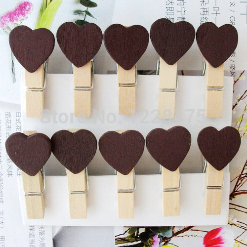 10PCS/lot  New Fashion Cute Special Gift Brown Color Heart Wooden Clip Mini Bag Clip Paper Clip Wood Pegs