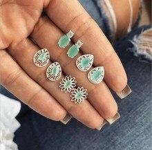 Vintage Geometric Small Stud Earrings Set for Women Girls Green Stone Flower Jewelry Wholesale