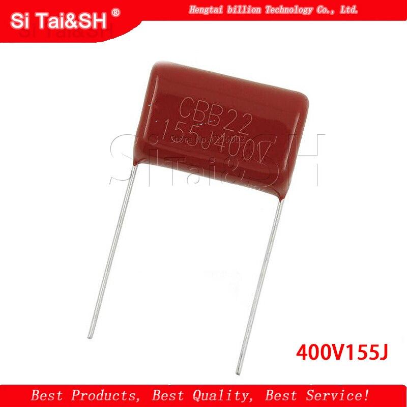 10 шт. 400V155J 1,5 мкФ шаг 20 мм 400 В 155 1500nf CBB полипропиленовый пленочный конденсатор