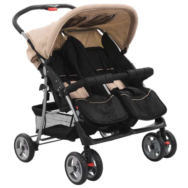 Baby Twin Stroller Taupe and Black Steel Can Sit High Landscape luxury Double pram Detachable Boys And Grils Cart
