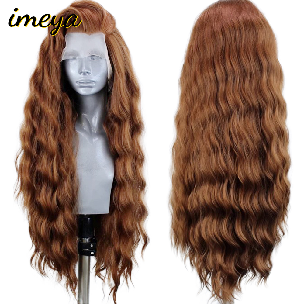 FANXITON Long Water Wave Hair Lace Front Wigs 24 Inch Brown Color Synthetic Hair Heat Resistant Fiber Lace Front Wig For Women